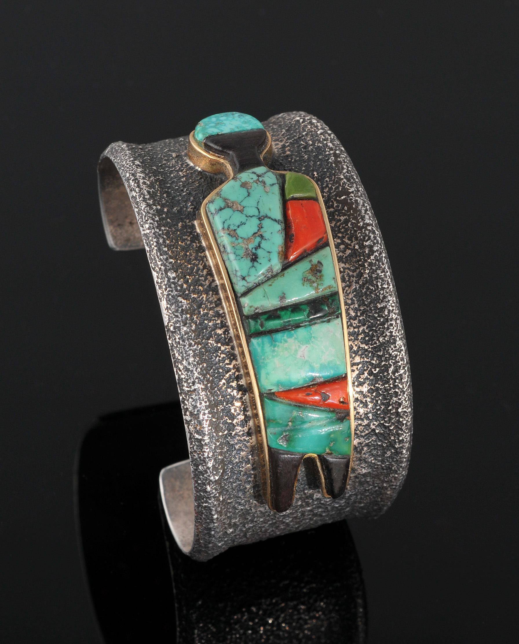Loloma Charles Sterling Silver Bracelet With Inlay